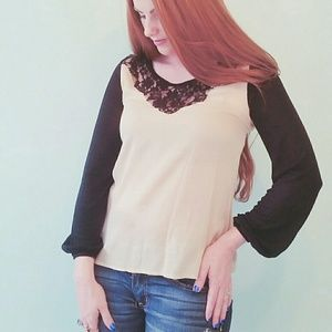 Lace black and taupe top